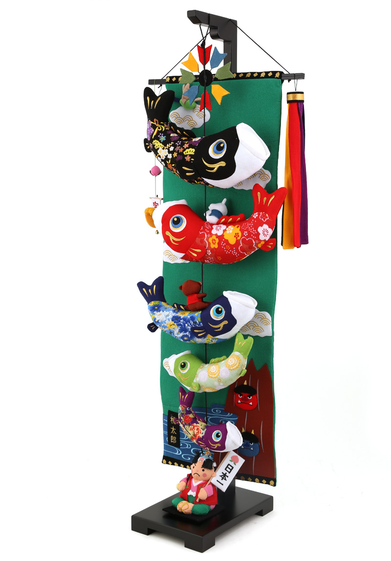 五月人形 こいのぼり 室内用 桃太郎鯉のぼり 大 飾り台セットh285-sb-tr-pk-l