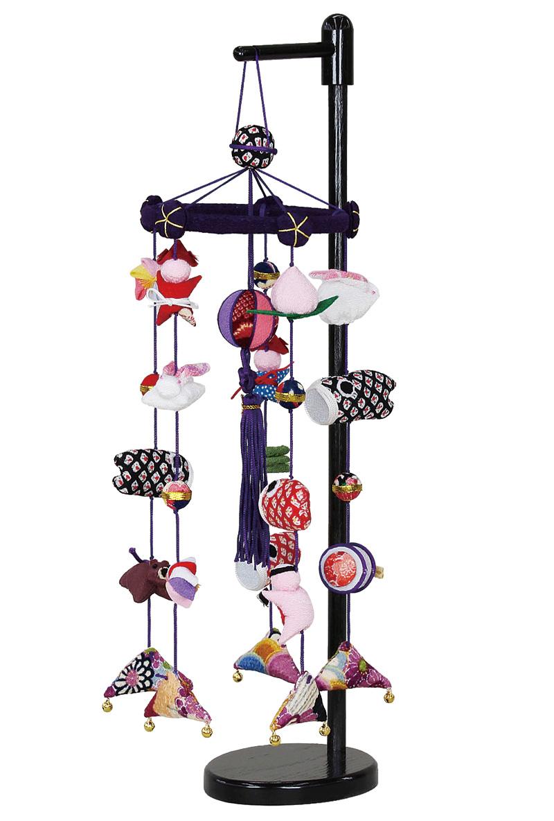 五月人形 室内用 室内飾り つるし飾り ミニ五連飾り 鈴付 飾り台付 【2020年度新作】 h315-fz-5640-56-003