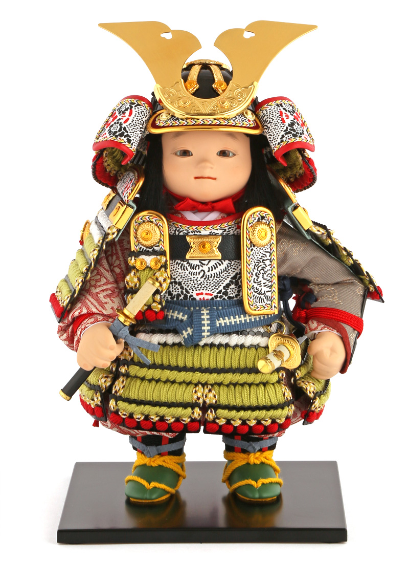 五月人形 幸一光 松崎人形 子供大将飾り 人形単品 晴 はれ 黒小札 正絹 鶯白段威 鯉幟付 YaekoProject 【2019年度新作】 h315-koi-5813