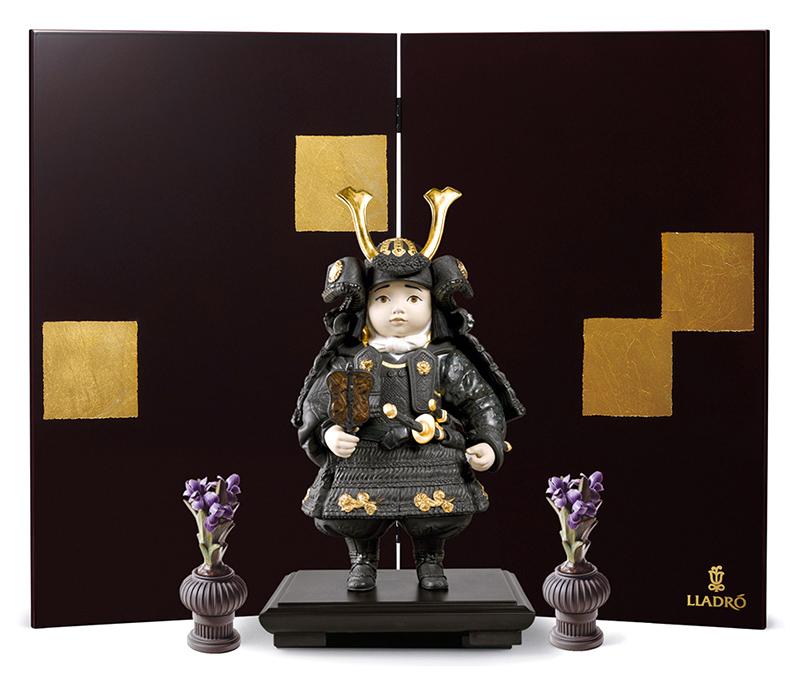 リヤドロ 五月人形 子供大将飾り 武者人形 Lladro 磁器人形 若武者 Gold フルセット 【2019年度新作】 h315-01012557-fs