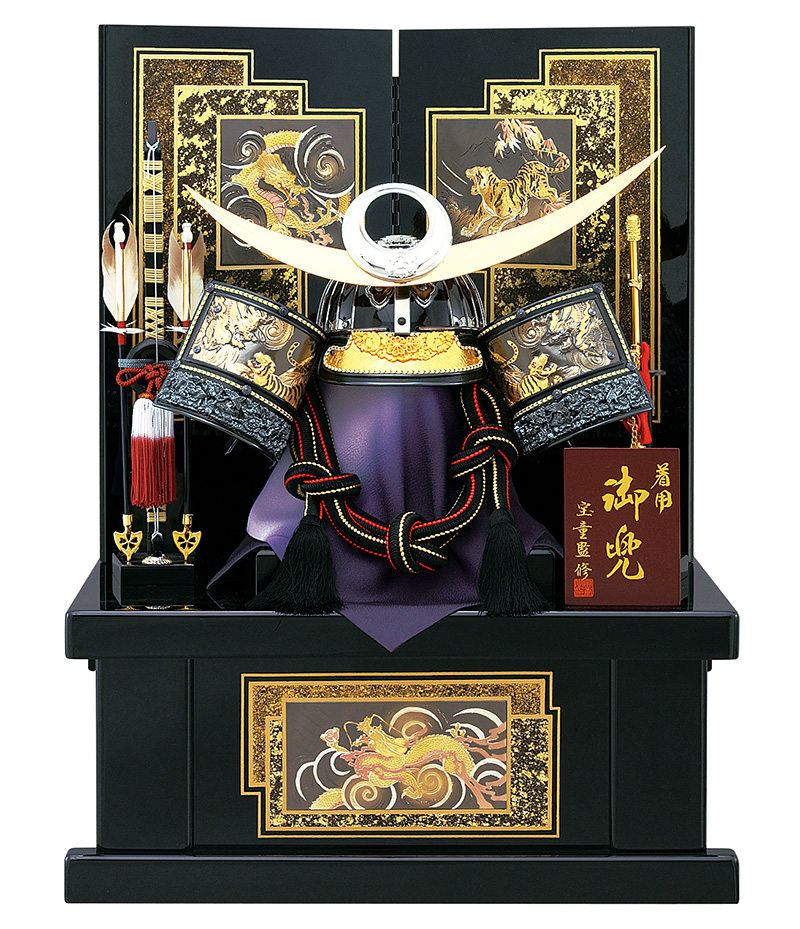 五月人形 収納飾り 上杉謙信 兜飾り 着用 宝童 彫金 (B) 23号 兜収納飾り h305-mm-116