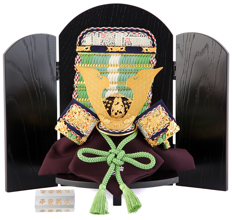 五月人形 鎧 兜 飾り鎧兜飾り コンパクト 8号 若竹中白縅 h305-mi-hb-130108-63-g【2019年度新作】