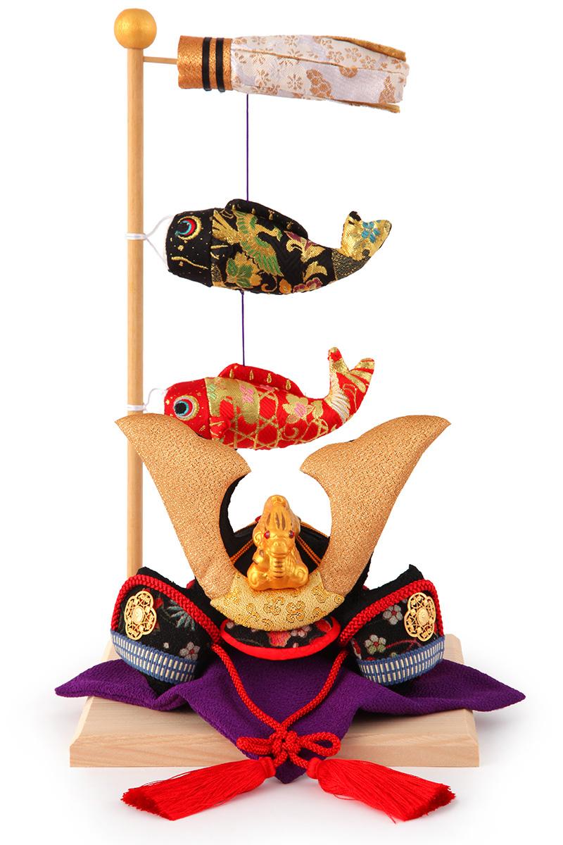 五月人形 コンパクト 兜 飾り リュウコドウ ちりめん 鯉飾り付き 【2019年度新作】 h305-rkcp-be021