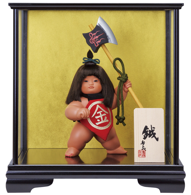 五月人形 コンパクト 金太郎 ケース飾り 浮世人形 スキヨ作 鉞 ガラスケース付 【2018年度新作】 h305-sk-6115