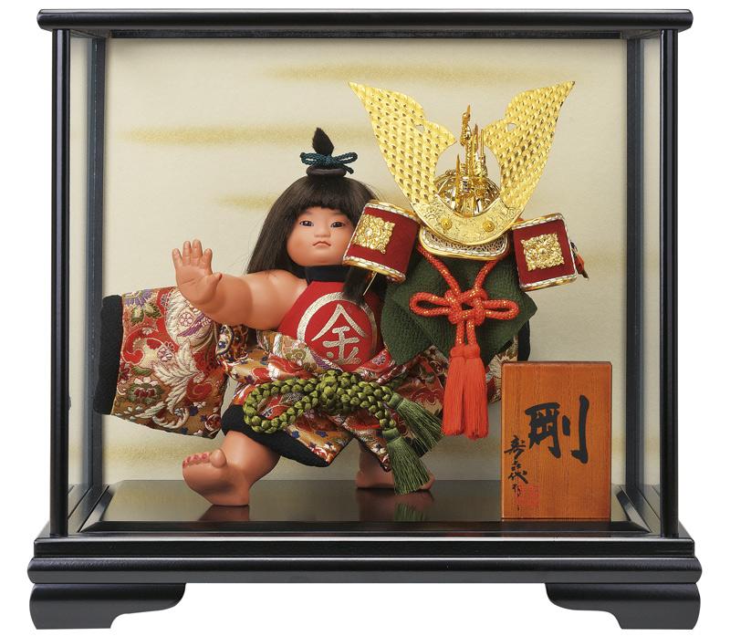 五月人形 コンパクト 金太郎 ケース飾り 浮世人形 スキヨ作 剛 西陣織 ガラスケース付 【2018年度新作】 h305-sk-6218