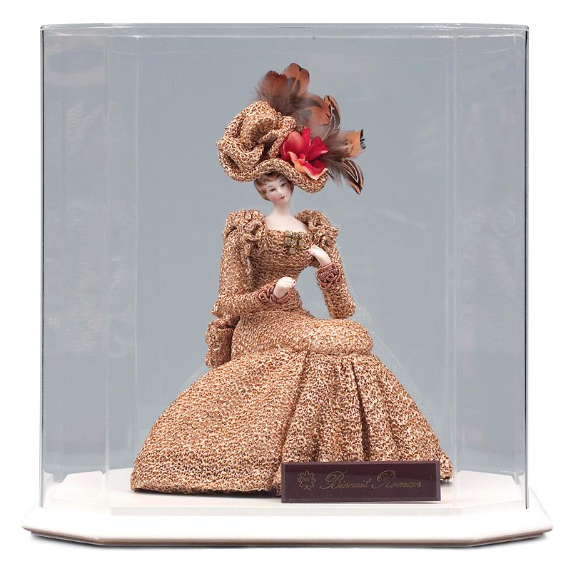 西洋人形 フランス人形 仏蘭西人形 ケース入り人形 寿喜代作 ビスクロマン ゴールド アクリルケース付 【2018年度新作】 sk-brk36