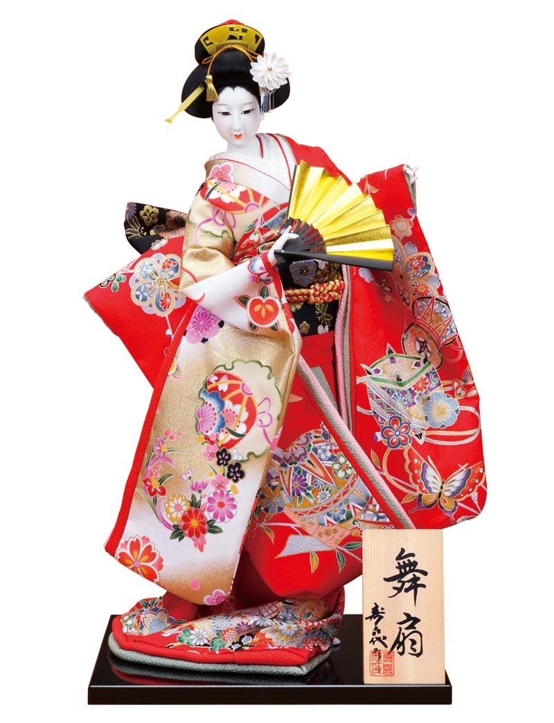 日本人形 尾山人形 人形単品 寿喜代作 舞扇 正絹 12号 【2018年度新作】 sk-o2624