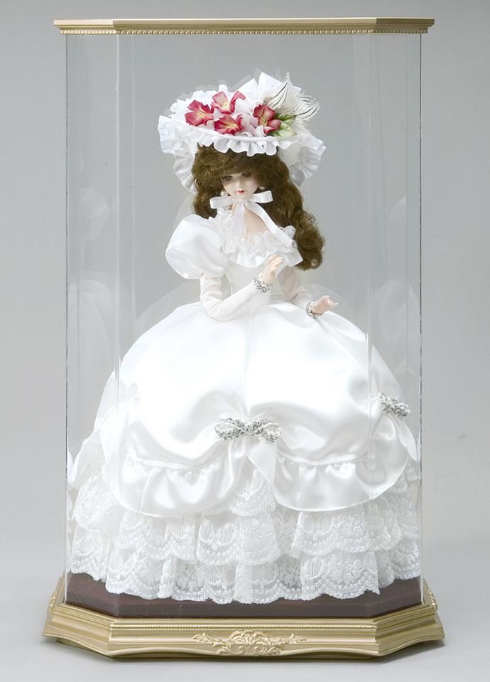西洋人形 フランス人形 仏蘭西人形 ケース入り人形 リボン・グレイシィ 白 アクリルケース付き 寿喜代作 【2013年度新作】 sk-gfk1509