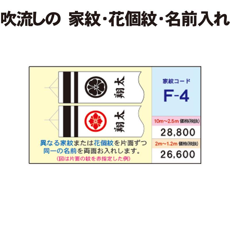 F-4 徳永こいのぼり 吹流し 家紋と名前入れパターン徳永鯉
