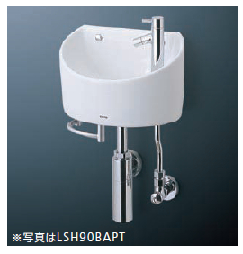 TOTO(トートー)壁掛手洗器(丸形)LSH90AAP(壁給水・壁排水)(Pトラップ)タオルバーなし