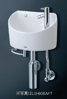 TOTO(トートー)壁掛手洗器(丸形)LSH90BASNT(壁給水・床排水)(ボトルトラップ)タオルバー付き