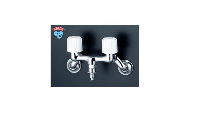 KVK洗濯機用2ハンドル混合栓とめるゾウ付ホースワンタッチ接続【寒冷地用】KM33WU2
