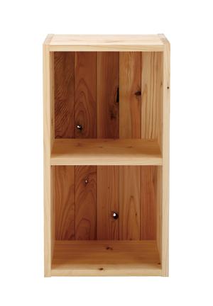 2段ボックス[裏板付き]【無垢・カラーボックス・BOX・本棚・日本製・完成品 収納 天然木 子供部屋 リビング ラック キッズ 子供 ボックス BOX 箱 A4サイズ 】