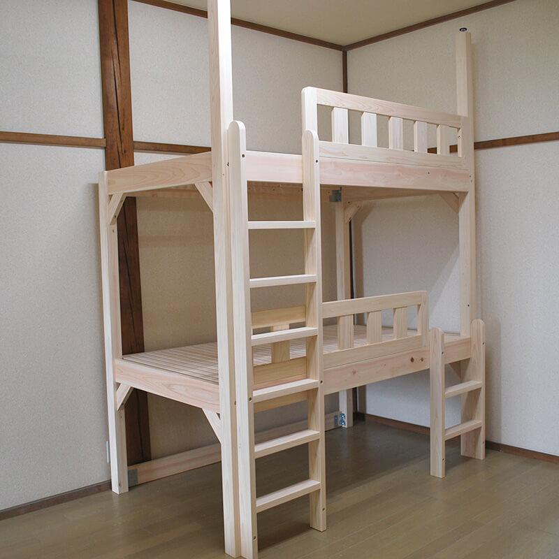 [サイズ変更可能]国産ひのき子供から大人まで使えるコンパクトサイズの二段ベッド【無塗装仕上げ】