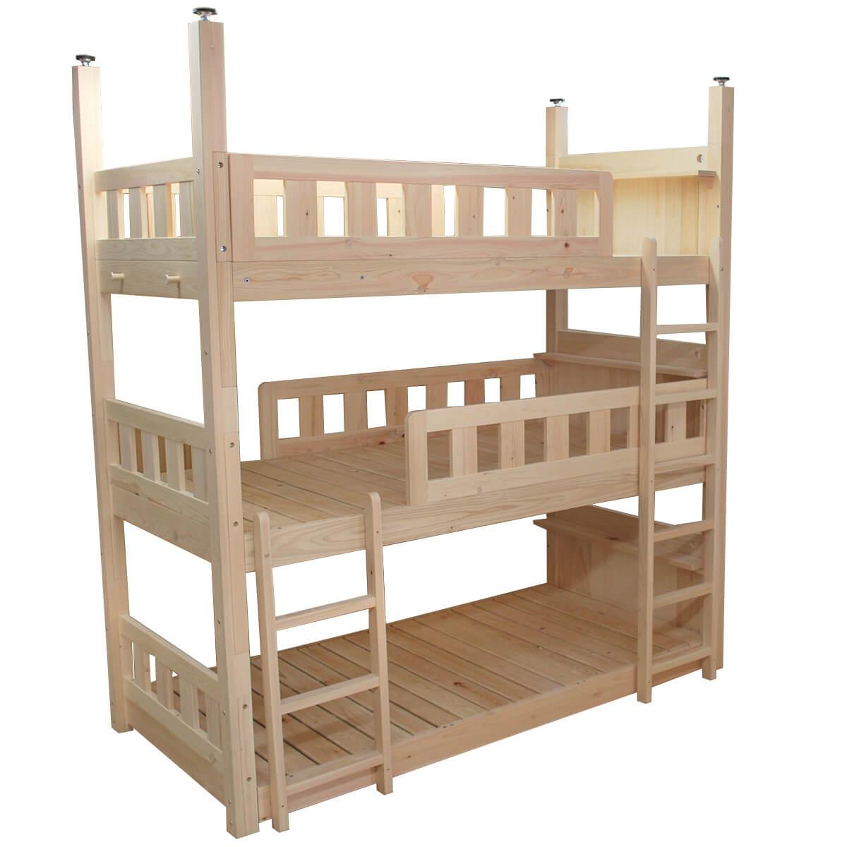[サイズ変更可能]国産無垢ひのき三段ベッド 棚板付き 無塗装仕上げ1201032 シンプルに三段重ね式