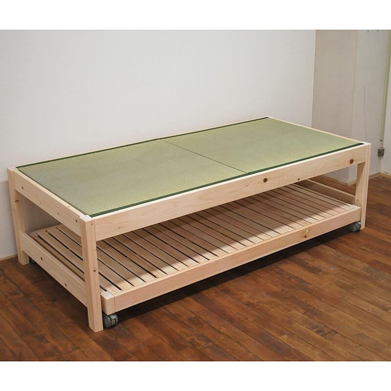 [サイズ変更可能]親子ベッド スライド式ツインベッド国産ひのき畳ベッド下にベッド収納のトランドルベッド【無塗装・5R仕上げ】