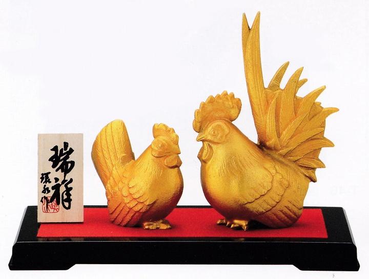 干支・酉(鶏)の置物/瑞祥 中 環水作品/高岡銅器の置物