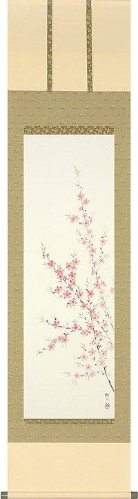 桃の節句 桃の花の掛け軸 桐箱収納 ひなまつりに健やかな成長願う