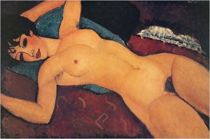 アメデオ・モディリアーニ作品 腕を広げて横たわる裸婦 アートプリント/アートフレーム付
