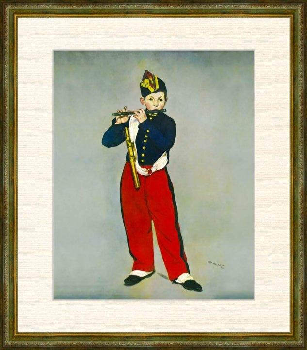Edouard 『1年保証』 Manet 1832-1883 プレゼント 笛を吹く少年 エドゥアール F8サイズ 額装作品 高精細巧芸画 マネ作品