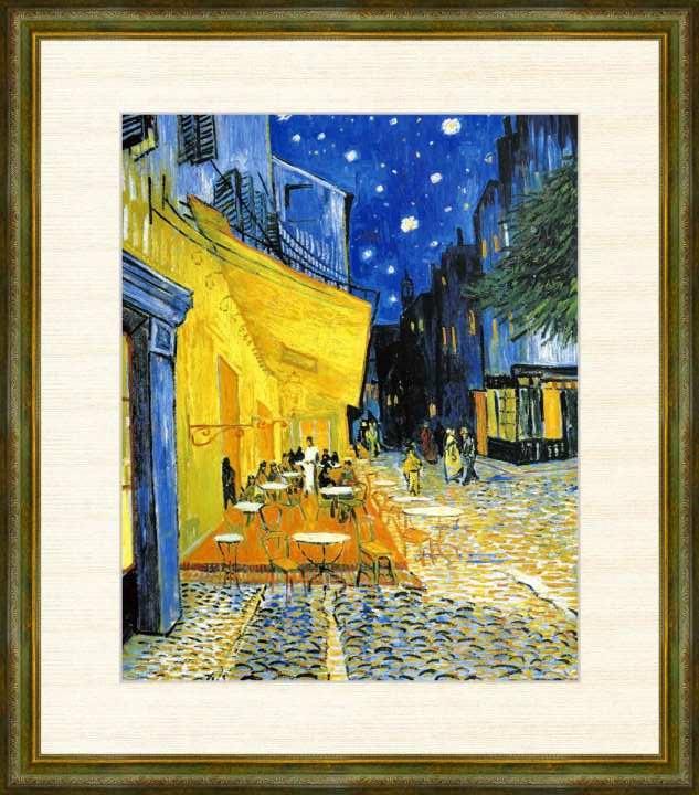Vincent van 迅速な対応で商品をお届け致します Gogh 1853-1890 夜のカフェテラス フィンセント F8サイズ 高精細巧芸画 2020A/W新作送料無料 ゴッホ作品 ファン 額装作品