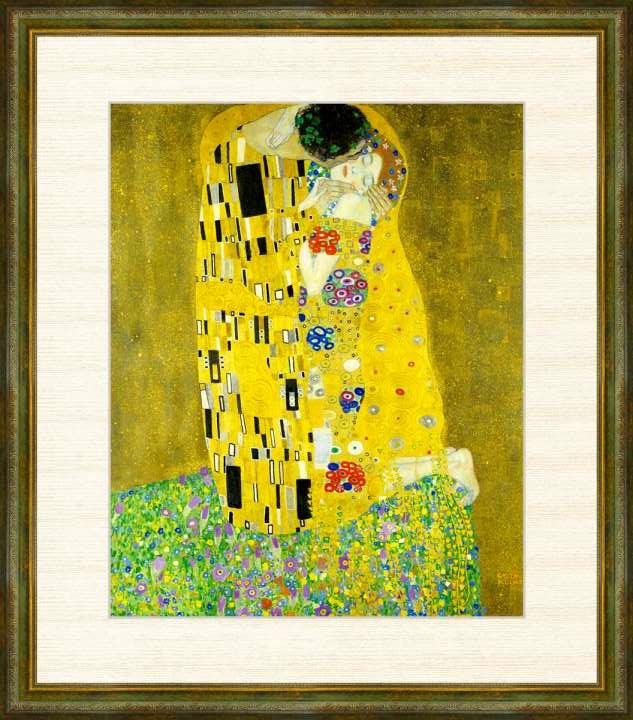 Klimt 1862-1918 接吻 クリムト作品 高精細巧芸画 本物 再入荷/予約販売! F8サイズ 額装作品