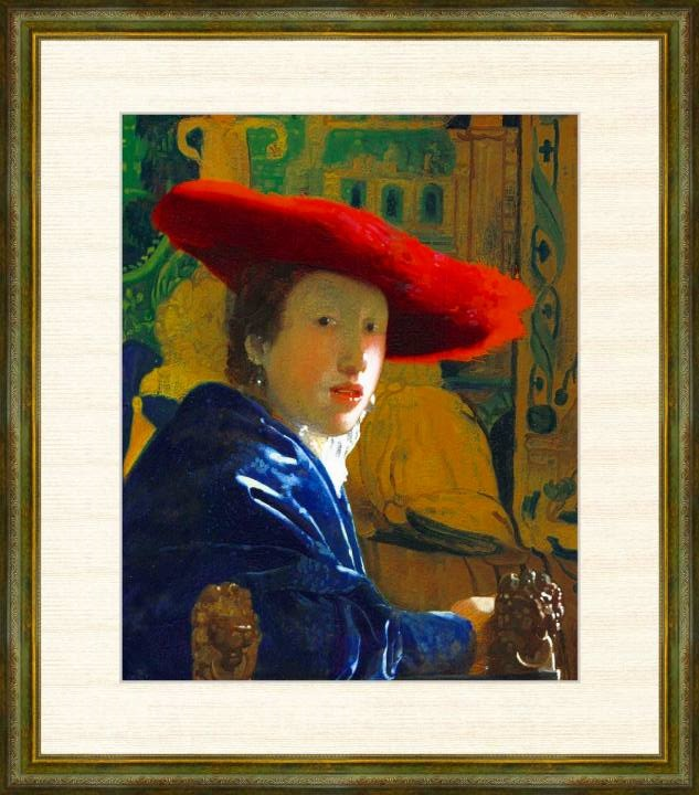 Vermeer 1632-1675 正規認証品!新規格 赤い帽子の女 ヨハネス 額装作品 フェルメール作品 F8サイズ 高精細巧芸画 NEW売り切れる前に☆