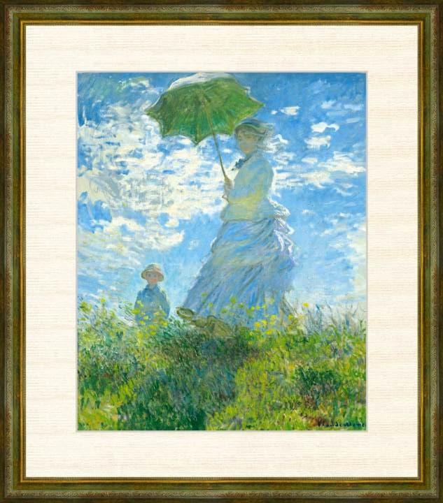送料無料激安祭 Claude Monet 1840-1926 散歩 日傘をさす女性 新作アイテム毎日更新 モネ作品 F8サイズ 高精細巧芸画 額装作品 クロード