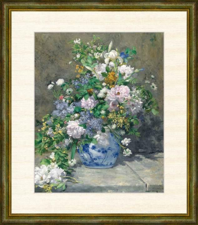 Pierre-Auguste Renoir 1841-1919 登場大人気アイテム 春のブーケ 額装作品 ルノワール作品 爆買いセール F8サイズ 高精細巧芸画