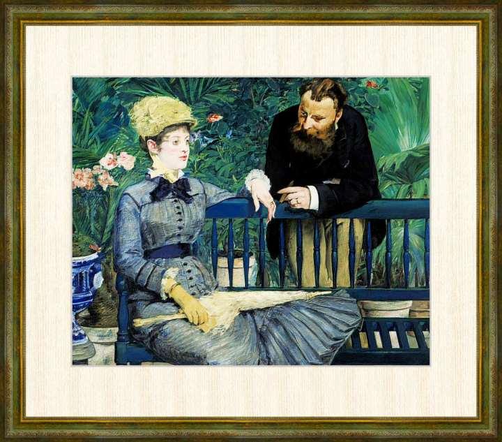Edouard Manet セールSALE%OFF 1832-1883 温室にて エドゥアール 高精細巧芸画 アウトレットセール 特集 F8サイズ 額装作品 マネ作品
