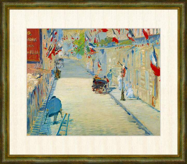 Edouard 高価値 Manet 1832-1883 旗で飾られたミニエ街 最新アイテム エドゥアール 高精細巧芸画 F8サイズ 額装作品 マネ作品