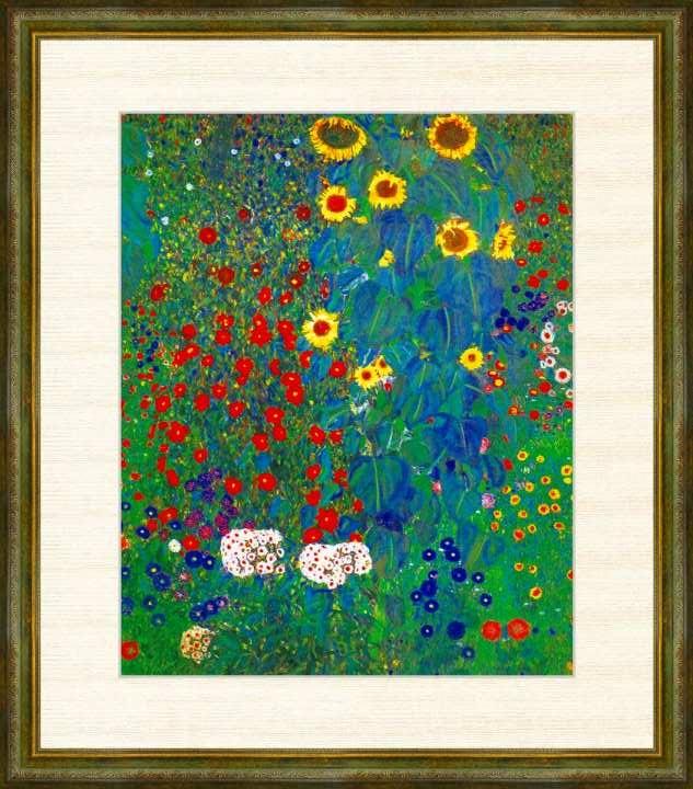 いよいよ人気ブランド Klimt 1862-1918 ヒマワリの咲く農家の庭 倉庫 クリムト作品 高精細巧芸画 F8サイズ 額装作品