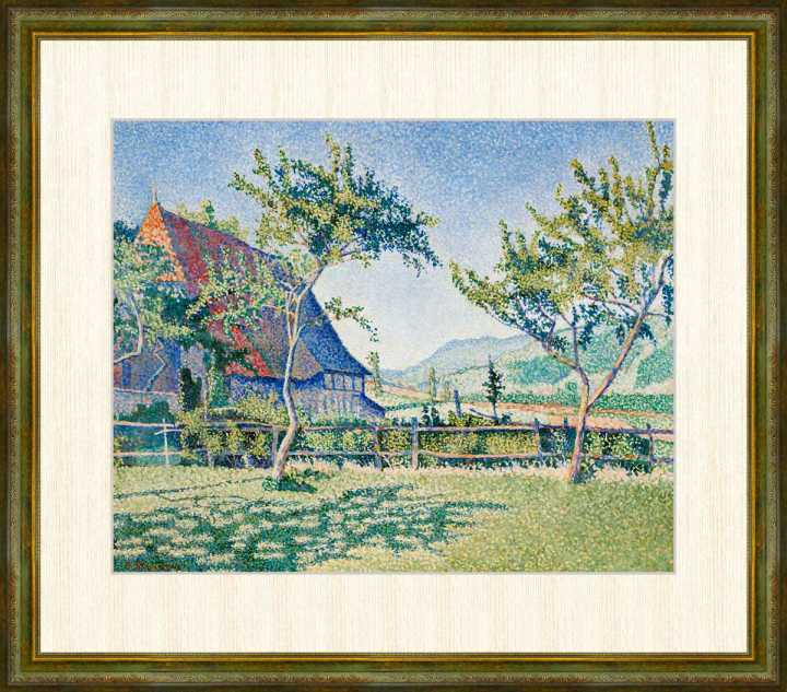 Signac 1863-1935 牧草地 コンブラ ル 額装作品 品質保証 F8サイズ シニャック作品 ランキングTOP5 高精細巧芸画 シャトー