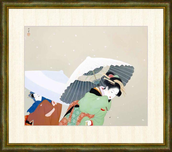 上村松園 1875-1949 交換無料 牡丹雪 上村松園作品 F8サイズ 額装作品 高精細巧芸画 ギフト
