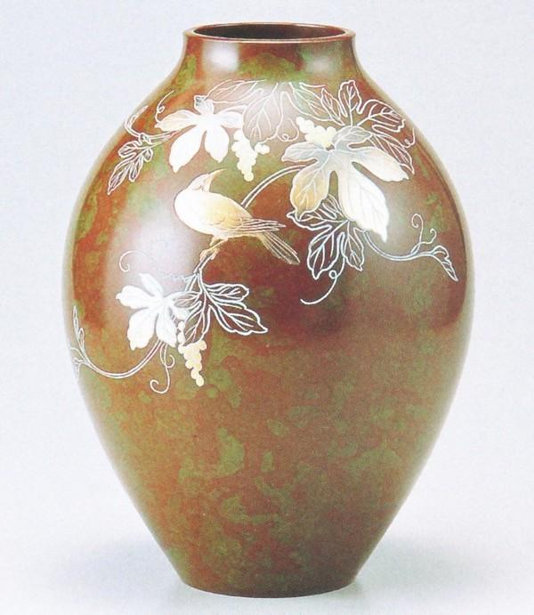 花瓶 高岡銅器販売 花瓶/新坪形 花鳥10号 山本秀峰作品 化粧箱付/送料無料