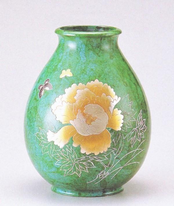花瓶 伝統工芸・高岡銅器の花瓶/ダルマ形 牡丹 化粧付/伝統工芸通販