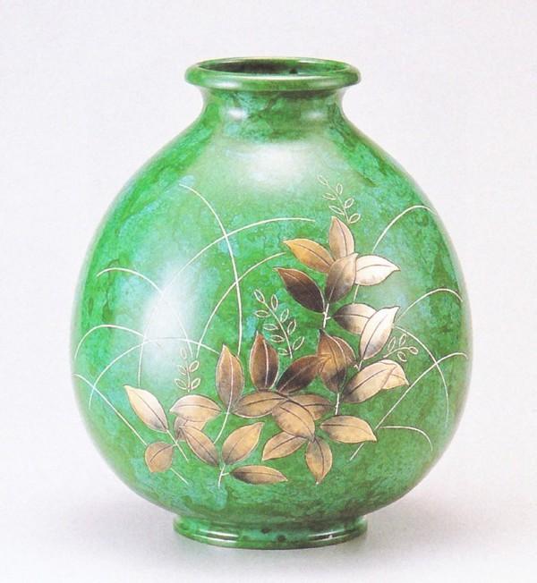 高岡銅器 歴史彩る花瓶/福寿形 萩 化粧箱付/高岡銅器通販