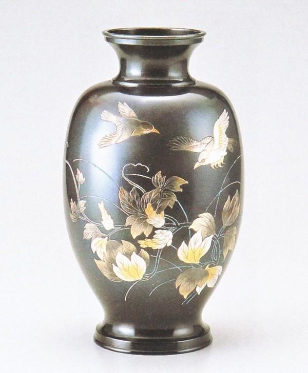 花瓶通販 高岡銅器の花瓶/鳳祥 小鳥12号 山本秀峰作品/花瓶通販 送料無料