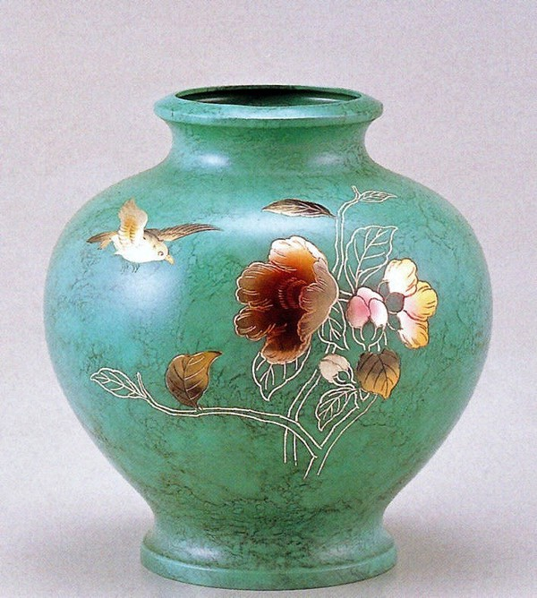 高岡銅器の花瓶/壷 山茶花に鳥 山本秀峰作品 高岡銅器の花瓶/送料無料