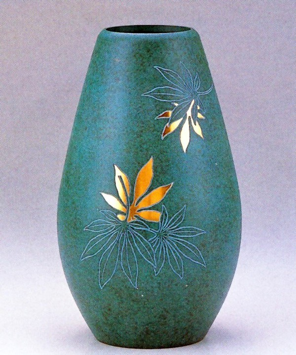 高岡銅器の花瓶/砲型 楓8寸 美術工芸通販/送料無料