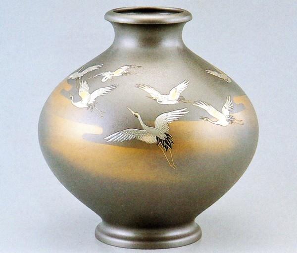 高岡銅器の花瓶/新寿形 千羽鶴12号 美術工芸通販/送料無料