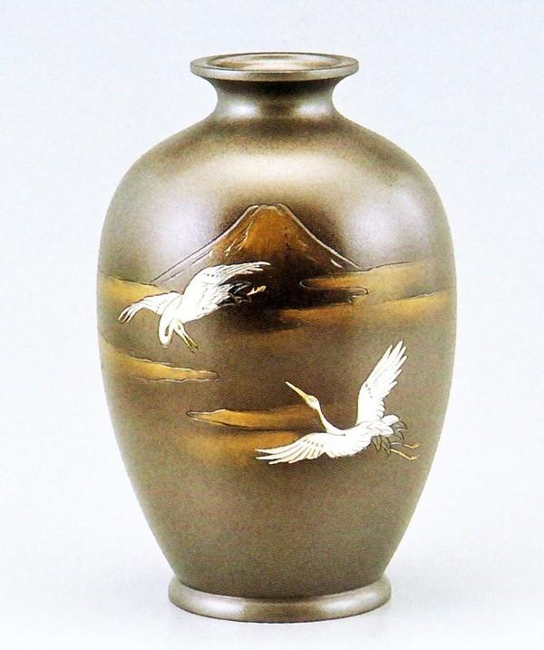 夏目形花瓶 高岡銅器の花瓶/新夏目形 富士鶴8号 美術工芸通販/送料無料