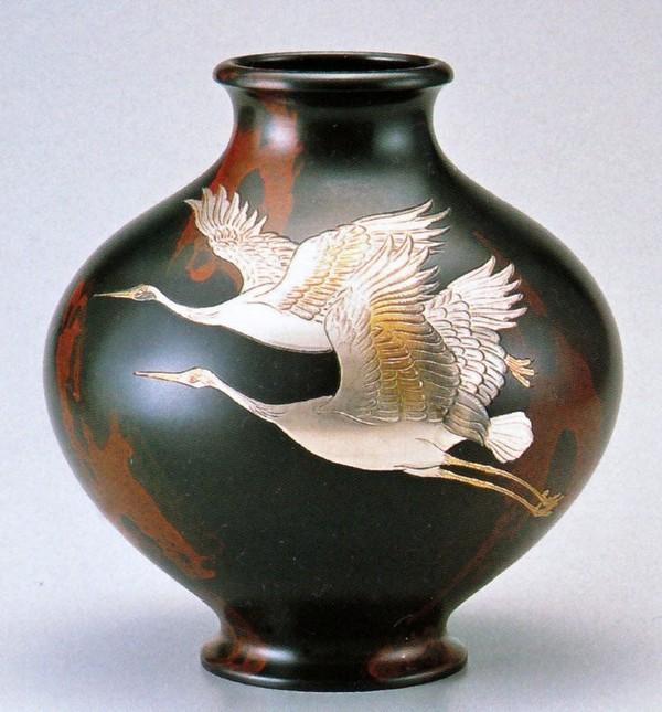 高岡銅器の花瓶/新寿形 双鶴10号 美術工芸通販/送料無料