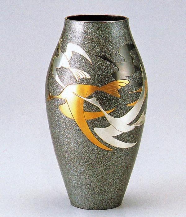 高岡銅器の花瓶/細壷形 千羽鶴 美術工芸通販/送料無料