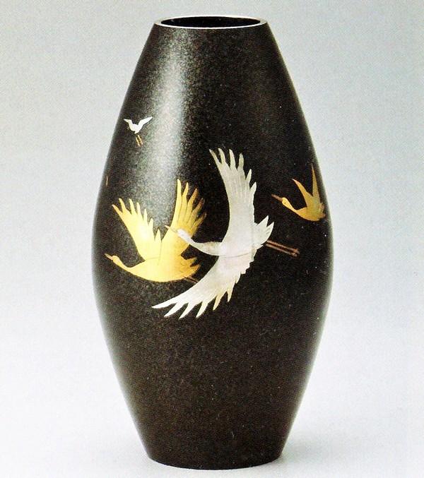 高岡銅器の花瓶/新砲型 彫金千羽鶴8号 美術工芸通販/送料無料