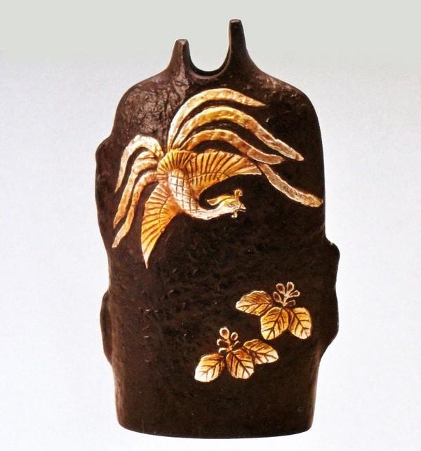 銅製花瓶 高岡銅器の花瓶/桐鳳凰 銅製花瓶 桐箱付/送料無料