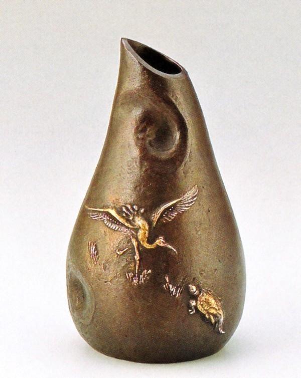 めでたい鶴亀の花瓶 高岡銅器の花瓶/花器 鶴亀 大森孝志作品 桐箱付