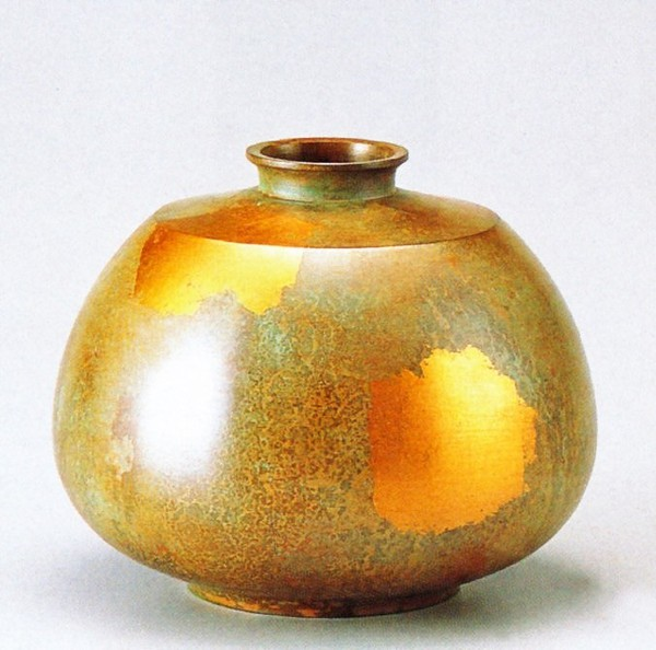 銅製花瓶 高岡銅器の銅製花瓶/平形 桐箱付/送料無料