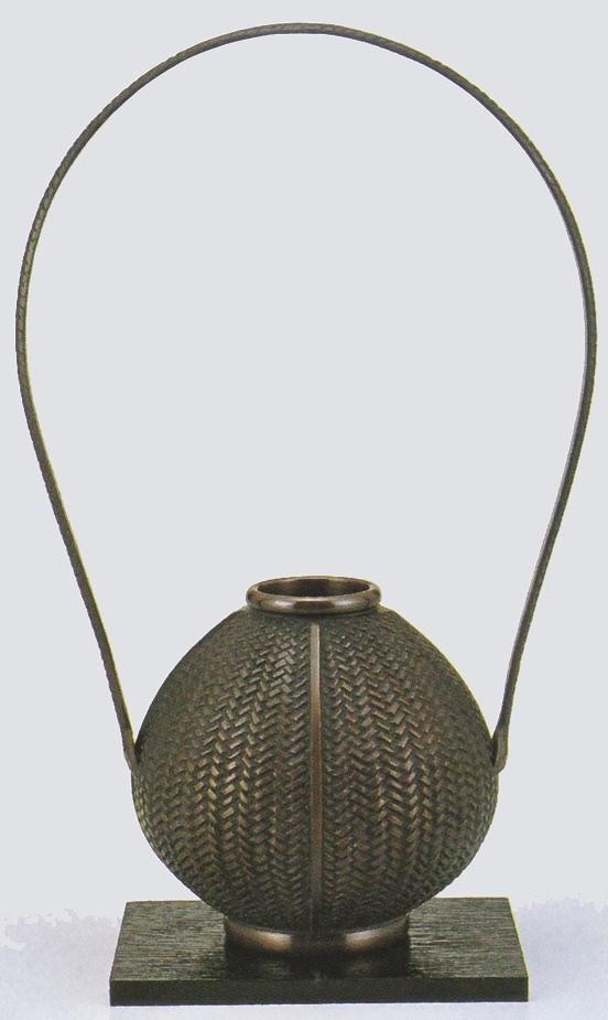 高岡銅器の銅製花瓶/玉形網代 敷板・化粧箱付/送料無料