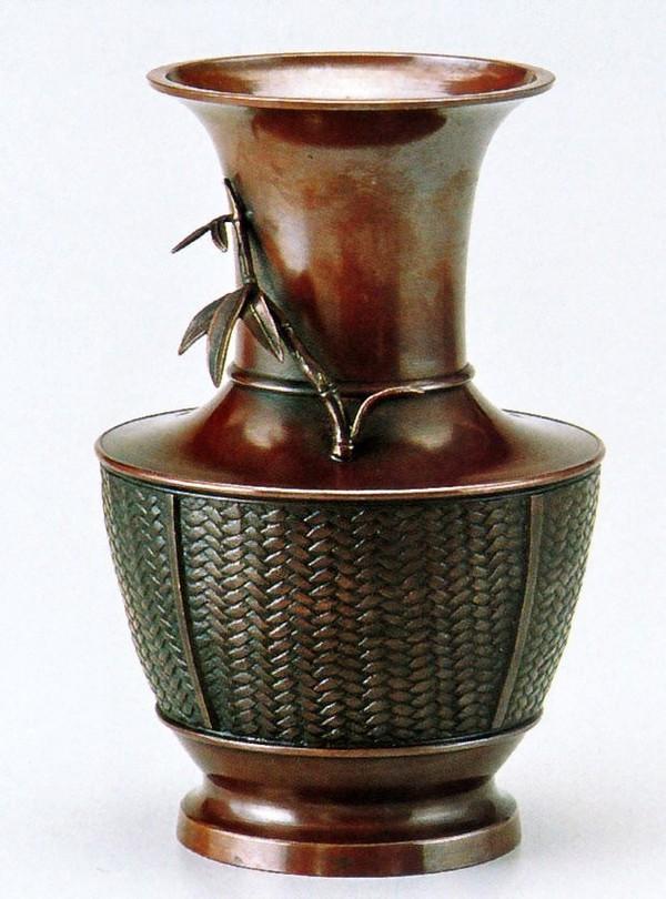 高岡銅器の銅製花瓶/網代 竹 化粧箱付/送料無料
